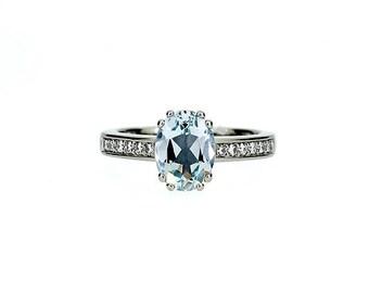 Aquamarine engagement ring, oval, diamond ring, oval aquamarine, solitaire, unique, wedding ring, blue engagement, vintage style
