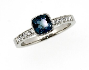 Cushion cut London blue topaz ring made from 950 Platinum, engagement ring, diamond engagement, teal engagement, bezel, solitaire, unique