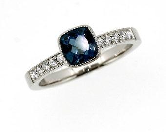 Cushion cut London blue topaz ring, palladium engagement ring, diamond engagement, teal topaz engagement, bezel, solitaire, unique, milgrain