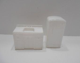 Vintage 2 Pc. MAR Kitchen--Refrigerator & Sink, Miniature Furniture