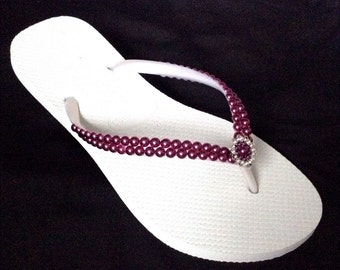 Havaianas Slim White Wedding Flip Flops Purple Pearls Rock Amethyst Burgundy Wine w/ Swarovski Crystal Filigree Bridal Bridesmaid Beach shoe