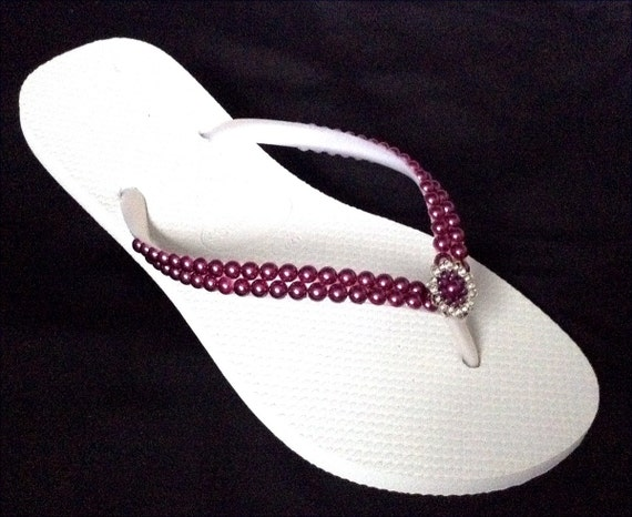 Havaianas Slim White Wedding Flip Flops Purple Pearls Rock Amethyst Burgundy Wine w/ Swarovski Crystal Filigree Bridal Bridesmaid Beach shoe