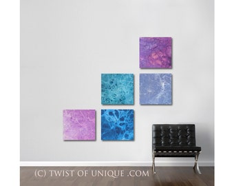 Minimalist watercolor Painitng/ Custom painting collection /5 set of paintings/ 15x15 size/ Turquoise, black, bronze,/ Southwest colors