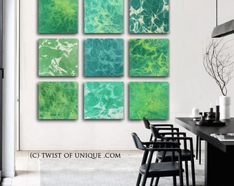 Oversized Abstract Painting / Forst Green painting/ 9 panels at 20 x 20 / Green, forest-green, yellow, white, / Ready Now Original painting