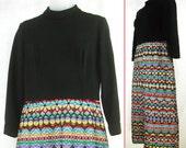 Vtg 60s - 70s Black & Multi-color Ribbon embroidered skirt MAXI Cocktail Wedding Hostess  DRESS