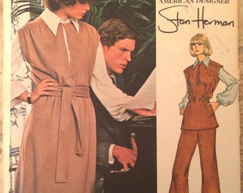 UNCUT Vintage 1970's Dress, Pants and Shirt Pattern Vogue 1083 Vogue Americana by Stan Herman Very Easy Vogue