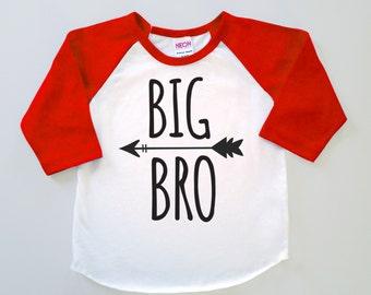 Big Bro Poly Cotton 3/4 Raglan Sleeve Baseball Shirt - Baby, Toddler or Kid Shirt