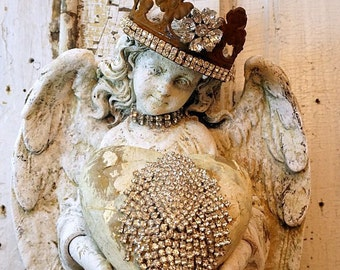Angel statue wall hanging w/ handmade heart and rhinestone crown distressed aged patina shabby cottage chic home decor anita spero