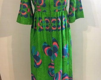 1960s bright maxi dress