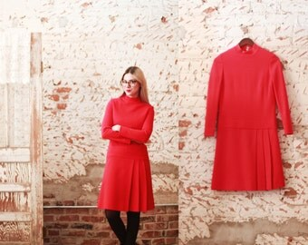 Vintage 1960s red small / medium Carlye wool drop waist shift dress / long sleeved / pleated / Mad Men / Peggy Olson / mock neck