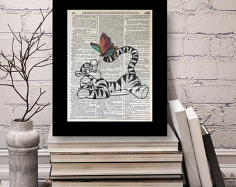 Tigger Winnie The Pooh Bear, Winnie The Pooh Prints, Tigger Winnie The Pooh Dictionary Print, Tigger and Friends, 100 Acre Woods
