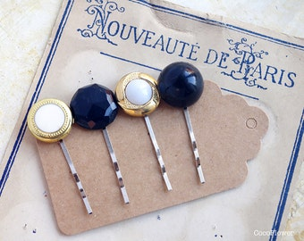 Gold Black hair pins Upcycled vintage buttons bobby pins retro romantic hair accessories for girls special occasion birthday gifts ideas