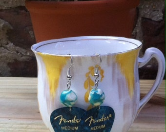 turquoise Fender guitar pick earrings