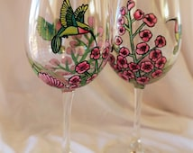 Hand Painted Hummingbird Wine Glass Set
