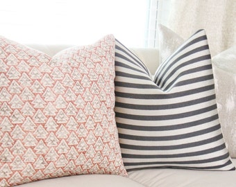 Zak & Fox La Tanrrilla Pillow in Drago - Designer Linen Pillow - Red Gray Geometric Throw Pillow Cover- Modern Pillow - Christmas Pillow