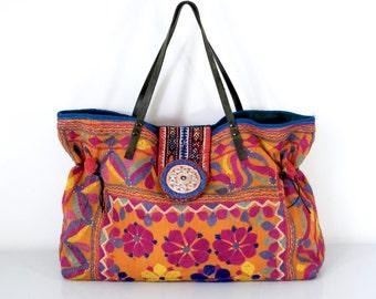 large ethnic tote, ethnic bag, tribal bag, indian bag, ooak, banjara bag