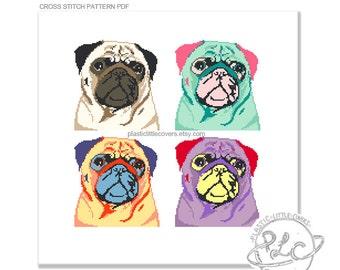 Pop Art Pugs Cross Stitch Pattern. Modern cross stitch pattern. Pop art Andy Warhol Silkscreen. Digital Download PDF.