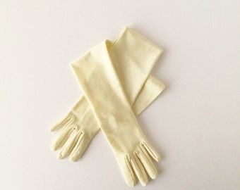 Vintage 1970s Alfred Angelo Elbow Gloves Pale Yellow Wedding Gloves One Size Bride Bridesmaids Formal Gloves