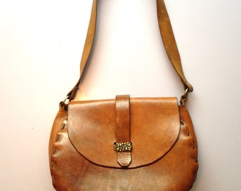 Vintage 1960s Brown Leather Boho Bag with Brutalist Closure, Hand-Crafted Bohemian Purse,