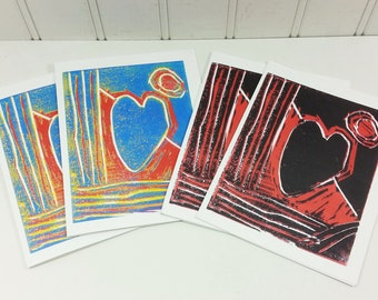 Heart Note Cards, Block Print Blue Heart + Black Heart Fine Art Blank Greeting Cards