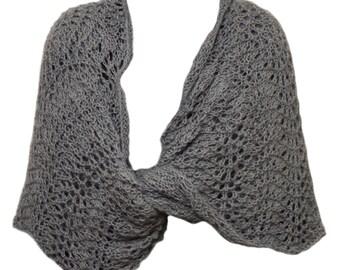 Hand Knit Wrap - Misty Grey Alpaca Lace