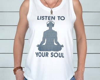Listen To Your Soul with Buddha with Headphones - Muscle Tee