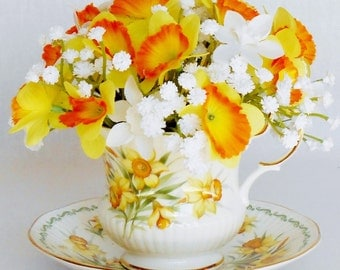 Teacup Silk Flower Arrangement, Mini Yellow & Orange Daffodils, Whe Gypsophila, Vintage Rosina Teacup, Artificial Flower Arrangement, it