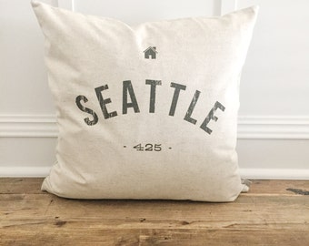 Personalized City & area code pillow Cover