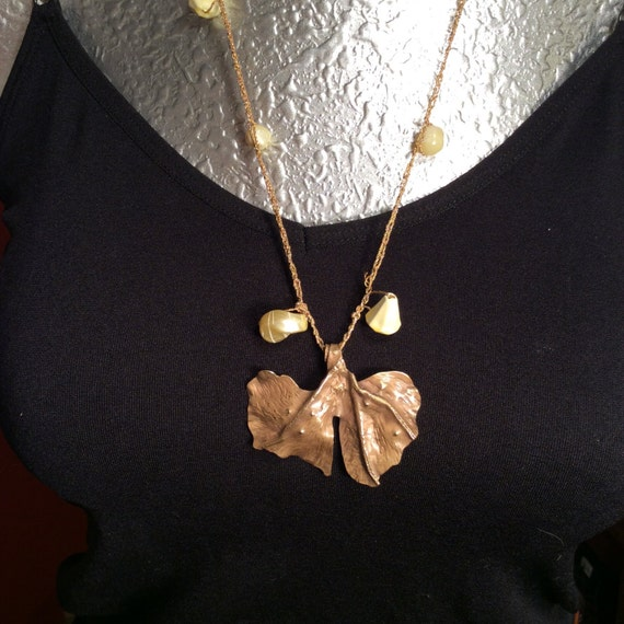 Ginko leaf, brass fold forming, fold formed necklace, organic necklace, leaf, nature, woodsy
