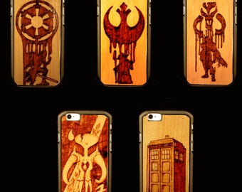 Custom Woodburned Cell Phone Cases - SCI-FI THEMES