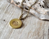 OM yoga necklace - yoga jewelry - brass om ohm aum necklace - mens yoga necklace - unisex yoga jewelry