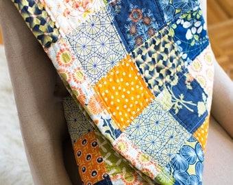 Modern patchwork quilt blanket, girl baby toddler, spring summer navy green orange blue featuring wren bird