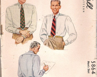 "Vintage 1944 McCall 5864 WWII Men's Shirt Sewing Pattern Size 15 1/2 Chest 40"" UNCUT"