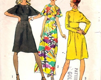 """Vintage 1972 Simplicity 5060 Dress in Two Lengths with Sleeve Interest Sewing Pattern Size 10 Bust 32 1/2"""" UNCUT"""