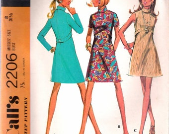 """Vintage 1969 McCall's 2206 Mod Dress in Three Versions Sewing Pattern Size 8 Bust 31 1/2"""""""