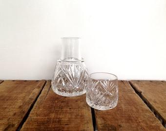 Vintage Bedside Decanter, Lead Crystal Decanter and Tumbler Set, Vintage Barware, Crystal Whiskey Decanter, Bedside Carafe, Midcentury
