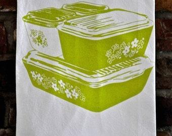 Tea Towel: Crazy Daisy, Spring Blossom, Vintage Pyrex Fridgies Design