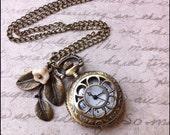 Pocketwatch Necklace, Floral Pocketwatch Necklace, Flower Necklace, Steampunk Necklace