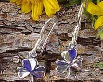 Sterling Silver Shamrock Earrings, .925 Silver Clover Charm Earrings, Dangling Cel;tic Irish Jewelry - SE-1642-FEW
