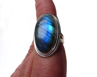 Natural Labradorite Ring Size 7, Sterling Blue Flash Large Oval Labradorite Ring .925 Silver Minimalist Labradorite Jewelry