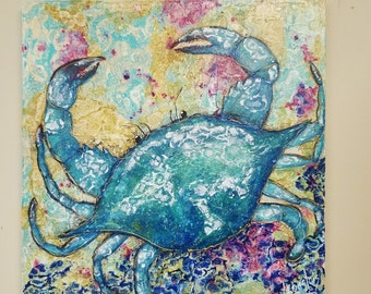 Crab Painting Colorful Blue Crab, Beach, Coastal Art, Beach Crab, Original Acrylic Painting on 20 x 20 canvas