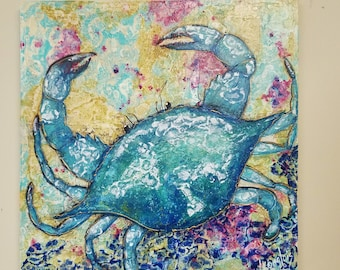Crab Painting Colorful Blue Crab, Beach, Coastal Art, Tattoo Crab, Original Acrylic Painting on 20 x 20 canvas