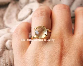 LEMON QUARTZ vermeil stackable ring-Ring with faceted gemstone, lemon quartz