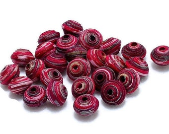 Textile Beads, Fabric Beads, Fiber Beads, 1 cm Pink White Grey Gray Multicolored Handcrafted Fabric Beads