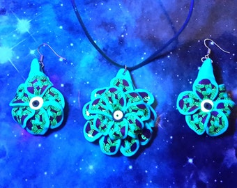 UV glow psychedelic floral necklace and earrings set