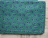 Vintage floral cotton fabric Soviet blue white paisley 2.4 yards