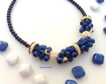 Blue Necklace, Statement Necklace, Blue Jewelry, Charm Necklace, Chunky Necklace, Blueberry, Berry Jewelry, Fashion Necklace,Polymer Jewelry