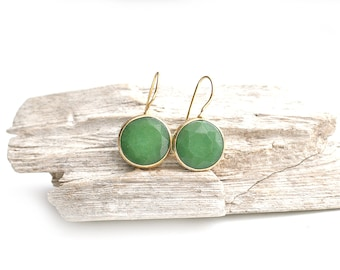 Gold Plated Framed Round Green Jade Stone Earrings