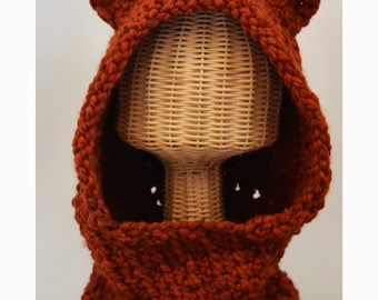 Knit Hood / Hooded Cowl with Ears / Wolf Hood/  Halloween Hat / Costume hats / Photo Props for Kids / Animal Ear Hats / Winter Hats