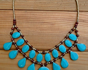 Turquoise jewelry- Turquoise necklace- Turquoise bib necklace- Bib necklace- statement necklace- Afghan bib necklace- bohemian jewelry